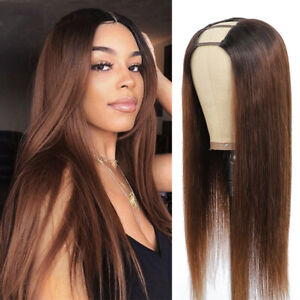 U Part Wig Straight Human Hair For Women Remy Hair Glueless Middle U Shape Wigs