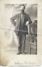 #676P Vintage Rppc Handsome Tall Man w Beard Id'd St Aubin Real Photo Postcard