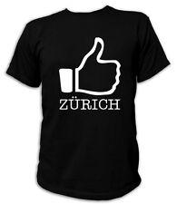 Kult T-Shirt - I LIKE ZÜRICH - S-5XL Zurich Schweiz Suisse CH Grasshoppers FCZ