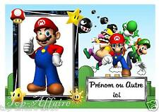 Plaque de porte en bois Mario  N° 41  avec prénom ou texte de votre choix