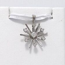 Art Deco 14K White Gold  .22 ctw Diamond Sun Starburst Charm Pendant 1.5gr