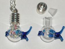 1 Glass Blowfish kissing fish bottle vial charm rice urn ocean locket pendant
