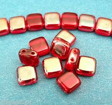 25 6x6x3mm CzechMates Two Hole Tile Beads: Celsian - Siam/Ruby