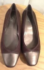 "Ladies brown suede/bronze leather flat shoes by ""Hotter"" size 6.5uk ( Beethoven)"
