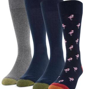 New Gold Toe Men's 4-Pack Crew Christmas Santa Falamingo, Shoe Size 6-12.5