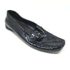 Women's Stuart Weitzman Loafers Shoes Size 8N Black Patent Crocodile Print V2