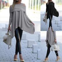Mode Femme Épaules dénudées Manche Longue Asymétrique Loose Jupe Haut Pull Plus