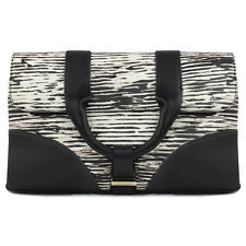 Jason Wu Black Ivory Streak Pattern Soft Grained Leather Clutch Bag