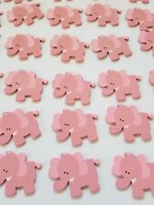 30pcs Baby Shower small pink elephant wooden cut out