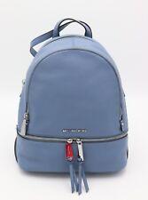 NWT MICHAEL Michael Kors Rhea Zip Denim Blue Leather Backpack Bag New $298