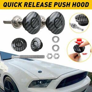 Carbon Fiber Quick Release Push Button Hood Pin Bonnet Lock Clip Bumper Latch G