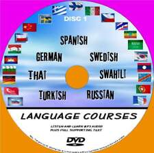 7 BEGINNERS LANGUAGE COURSES PC-DVD AUDIO/TEXT SYSTEM THAI TURKISH SWAHILI NEW 1