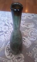 Beautiful Murano Art Style Hand Blown Green Glass Vase With Controlled Bubbles