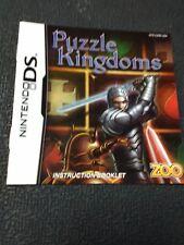 Nintendo DS Puzzle Kingdoms Instruction Booklet ONLY