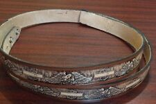 Brown Motorcycle Embossed Full Grain Cowhide Leather Belt Strap Hand-Made in USA