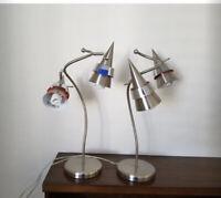 2 Vintage MCM Modernist Atomic Missle Form Double Cone Shape Shades Table Lamps