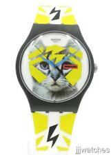 New Swatch Swiss Originals ELECTROCHAT White Silicone Watch 41mm SUOB135 $75