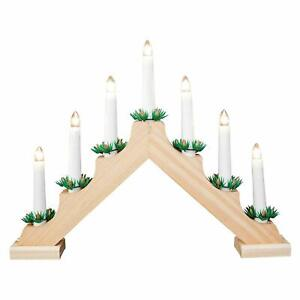 THE CHRISTMAS WORKSHOP PINE WOODEN CANDLE BRIDGE LIGHT CANDLES 70730 UK SELLER