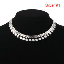 Bohemian Sequins Fish Bone Necklace Simple Double Layer Chokers Women Jewelry