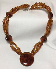 """Jay King DTR Amber Necklace  Sterling Silver 925 Hook Clasp 22"""" Long"""