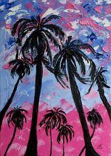 Palm Tree Painting Original Art  Hawaii  Impasto  Artwork  Tropical Landscape