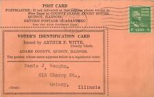 Quincy IL~Arnold Printery~Voter's Identification Card~Clerk Witte~Vaughn~1942 PC
