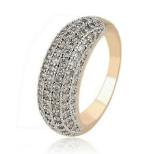 Yellow Gold Filled Clear Zirconia Crystal Pave Band Ring - UK Size N - Gift Idea