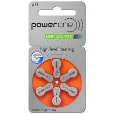 Power One Mercury Free Hearing Aid Batteries x 60 Size 13 - LOW PRICE!