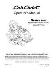 CUB CADET SERIES 1500 HYDROSTATIC GARDEN TRACTOR GT1554 OPERATORS MANUAL REPRINT