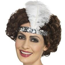 20s 1920s Sequin Flapper Headband & Feather Satin Fancy Dress Silver New Smiffys