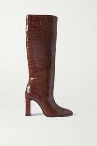 $890 BY FAR Camilla Croc-Effect Leather Knee Boots IT 40