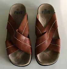 Frye Cross Walk Brown Leather Contrast Stitched Cross Strap Sandals Size 9 *READ