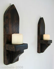 PAIR OF 39CM RECLAIMED WOOD RUSTIC WAXED GOTHIC WALL SCONCE LED CANDLE HOLDERS