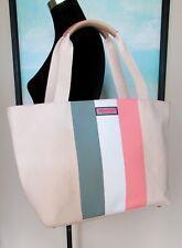Vineyard Vines Tri Stripe Coral Sand Canvas Tote Bag NWT