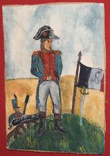 Vintage fauvist watercolor painting Napoleon portrait