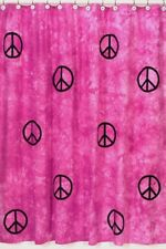 PINK PEACE SIGN TIE DYE GIRL KID BATH FABRIC SHOWER CURTAIN SWEET JOJO DESIGNS