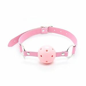 Pink Restraint Up Leather Hollow Gagged Mouth Ball Gag Breathable Slave Bondage