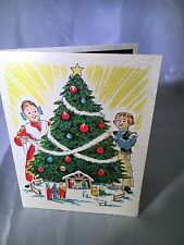 Vtg Christmas Yorkraft Greeting Card Pennsylvania Dutch rare print Amish Unused