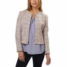 Anne Klein Womens Tweed Jacket Pink Palladium Front Zip Size 12