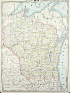 1887 Railroad and County Map of Wisconsin Antique