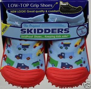 SkidDers Boys Blue Orange with Trucks Low Top Grip Shoes Size 6 or 18 months NWT