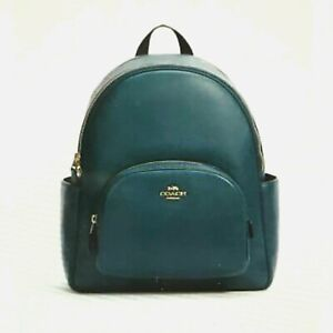 New Coach 5666 Court Backpack Pebble Leather Peacock