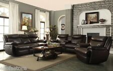 Macpherson 2 PCS Cocoa Bean Top Grain Leather Match Motion Sofa Set Living Room