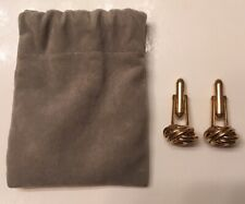 Men's Cuff Link Set For French Cuffed Shirt Love Knots Gold Toned W/ Storage Bag