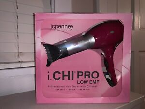 CHI LOW EMF Professional Hair Dryer with Diffuser & Concentrator - HOT PINK!