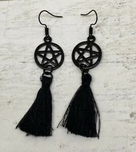Pair Black Pentagram Pentacle Tassel Earrings Gothic Wicca Pagan Novelty