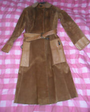 Vintage GUCCI Tan Suede Leather Enamel Tigre Belt and Clasps Coat 6/8 XS 60 s