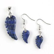 Angel Wings Handmade Natural Lapis Lazuli Gemstone Silver Pendant Earrings Set