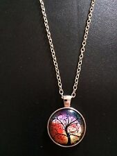 Silver Tone Tree of Life glass pendant Necklace (Red Multi tone)