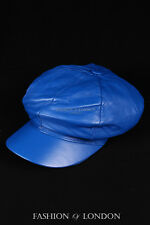 Royal Blue GATSBY HAT Real Lambskin 100% Leather Cabbie Newsboy Bakerboy Cap